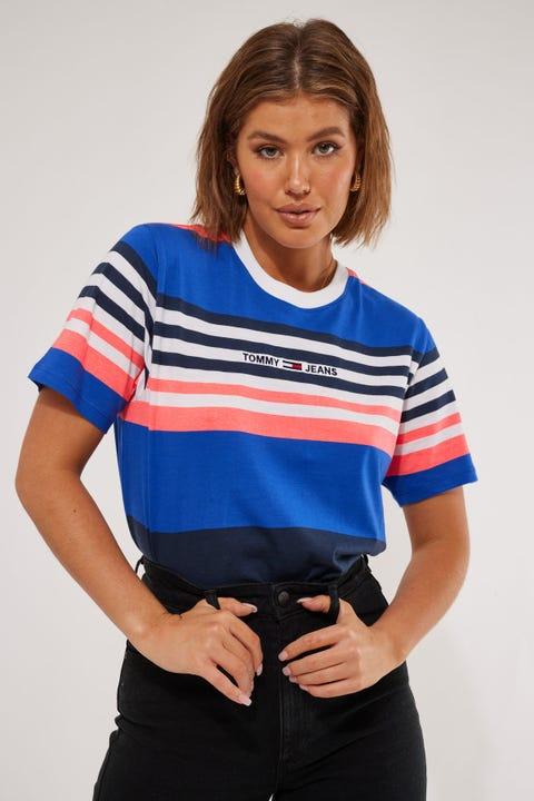 Tommy Jeans Boxy Crop Linear Logo Stripe Gulfcoast Blue Stripe