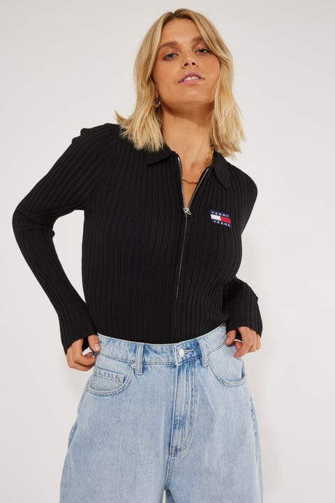 Tommy Jeans Zip Through Sweater Black