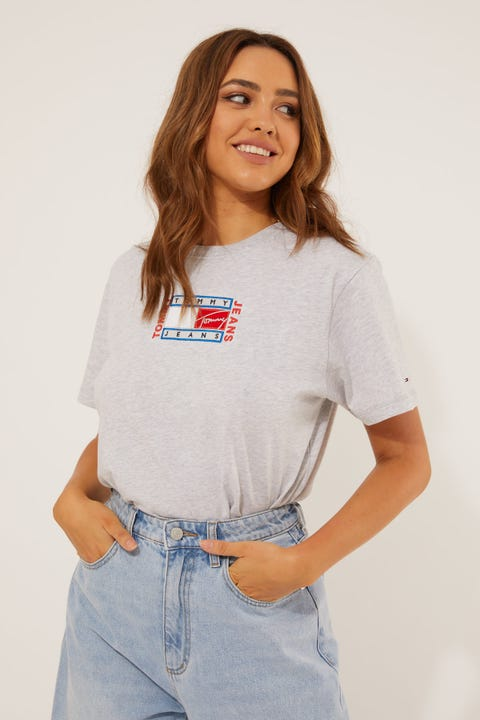 Tommy Jeans Relaxed Timeless Flag Tee Silver Grey Heather