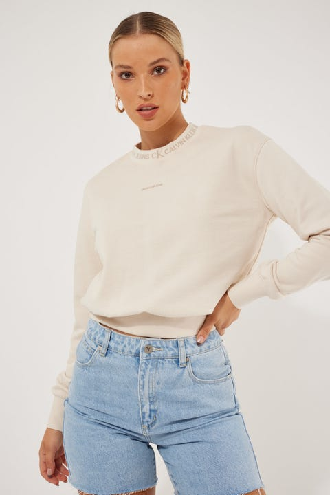 Calvin Klein Logo Trim Crew Neck Sweat White Sand
