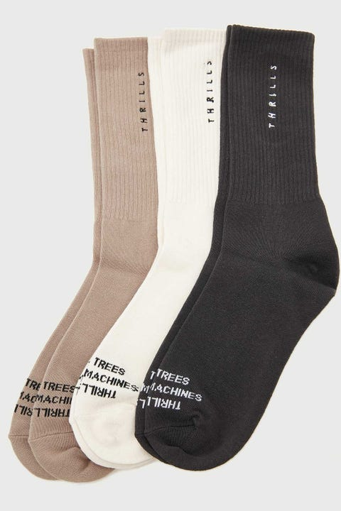 Thrills Minimal Socks 3 Pack Army Fade/Dirty White/Merch Black