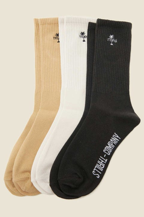 Thrills Company Sock 3 Pack Faded Gold/Dirty White/Merch Black