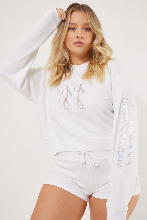 Calvin Klein Shine Logo Crew Neck Bright White