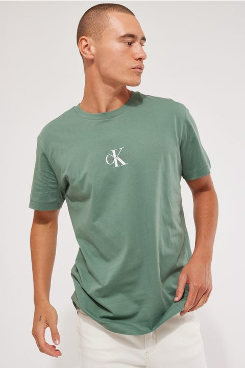 Calvin Klein Small Chest Monogram SS Tee Duck Green
