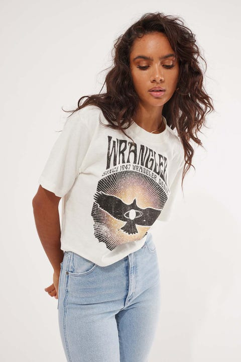 Wrangler All Sparks Crop Tee Vintage White