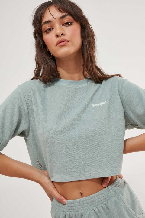Wrangler Dawn Terry Crop Tee Seafoam
