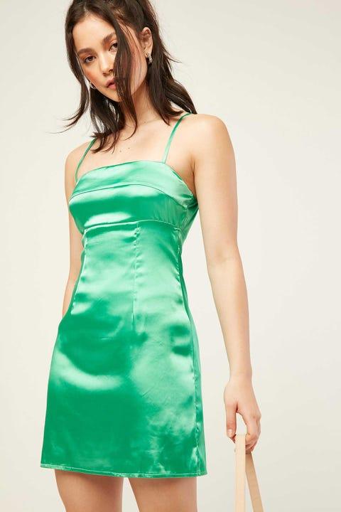 LUCK & TROUBLE Tahlia Satin Mini Dress Green