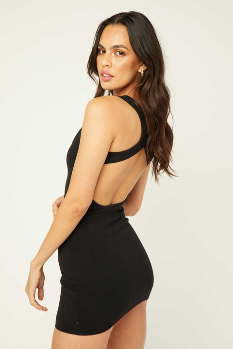 PERFECT STRANGER Butterfly Back Mini Dress Black