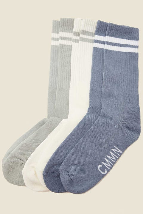 COMMON NEED Jim Sock 3 Pack Sage/White/Blue