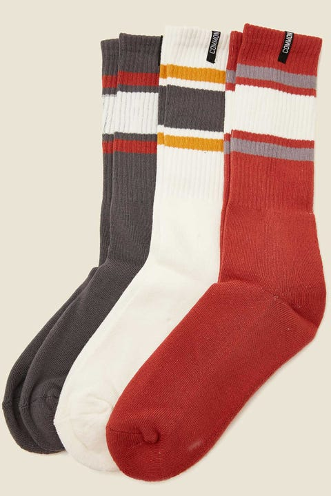 COMMON NEED Block Sock 3 Pack Rust/White/Charcoal