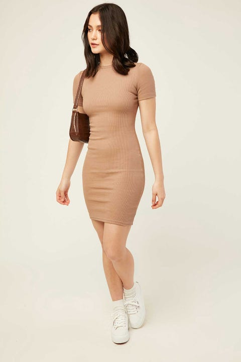 LUCK & TROUBLE Alba Mini Dress Mocha