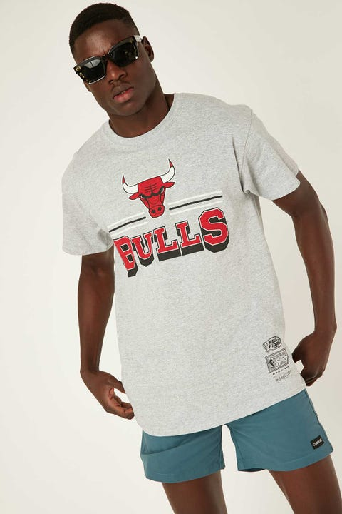 Mitchell & Ness Bulls Fan Banner Tee Grey Marle
