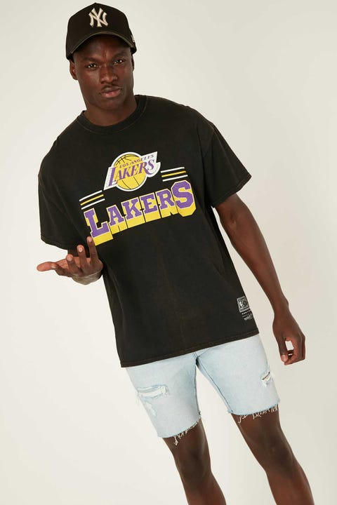 Mitchell & Ness Lakers Fan Banner Tee Vintage Black