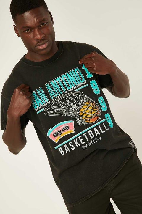 Mitchell & Ness San Antonio Vintage Basket Tee Vintage Black