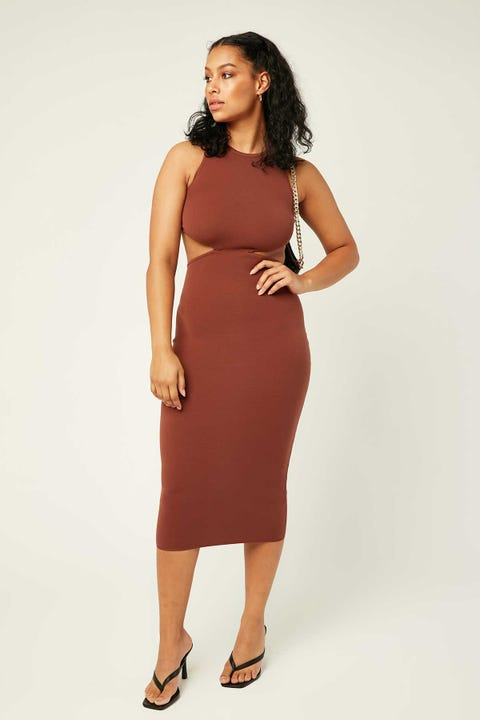 LUCK & TROUBLE All Me Midi Dress Brown
