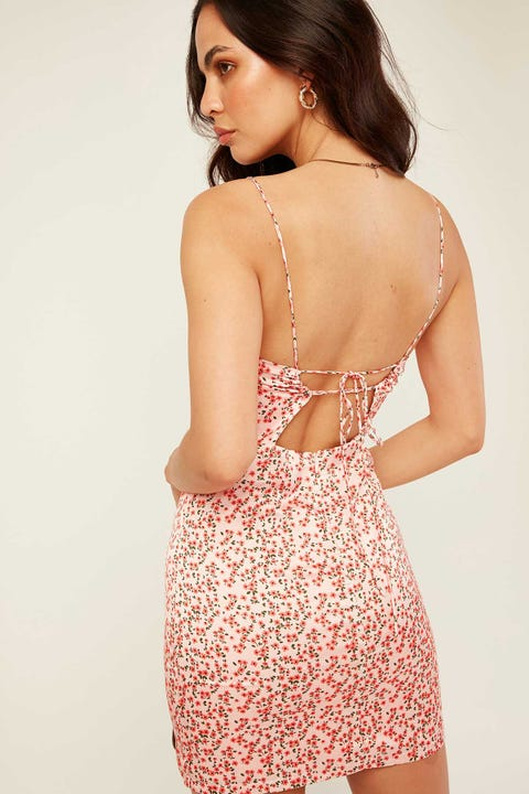 LUCK & TROUBLE Maui Satin Dress - Pink Floral Pink Floral