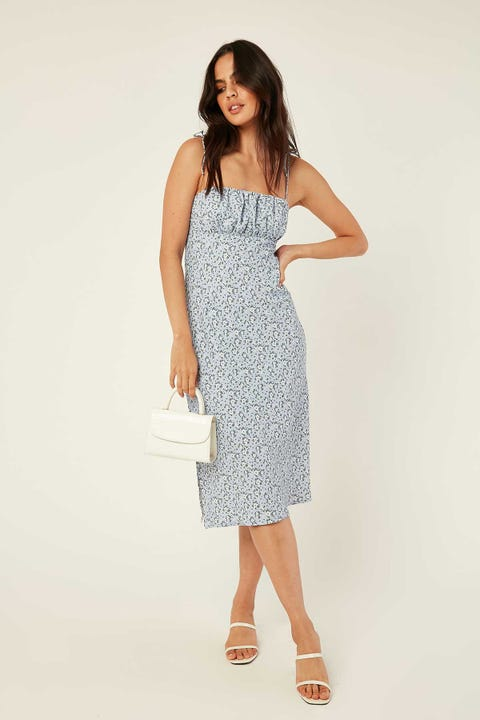 PERFECT STRANGER Wonderland Midi Dress Blue Print