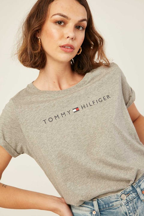 TOMMY JEANS RN Tee SS Logo Grey Heather