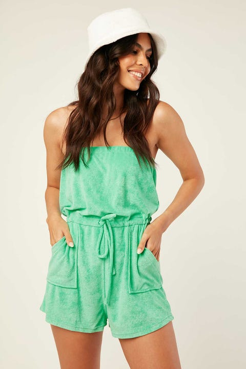 Luck & Trouble Strapless Terry Playsuit Green