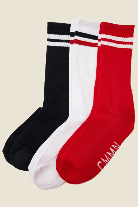 COMMON NEED Jim Sock 3 Pack Navy/Red/White