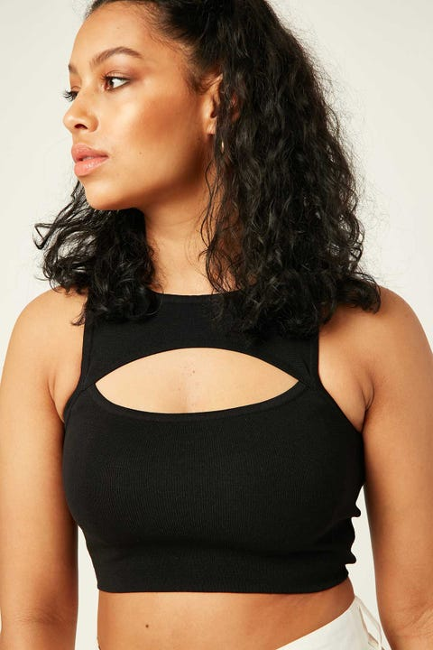 Luck & Trouble Isabella Cut Out Crop Black