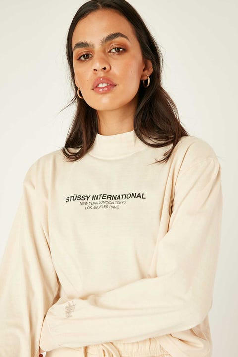 Stussy Text LS Mock Neck Tee White Sand