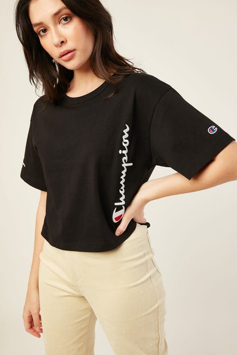 Champion Heritage Crop Tee Script Black