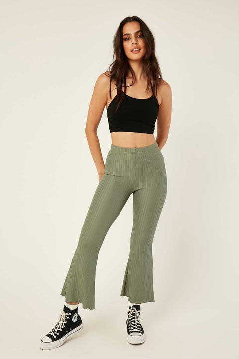 LUCK & TROUBLE Clean Lines Rib Flare Pant Green