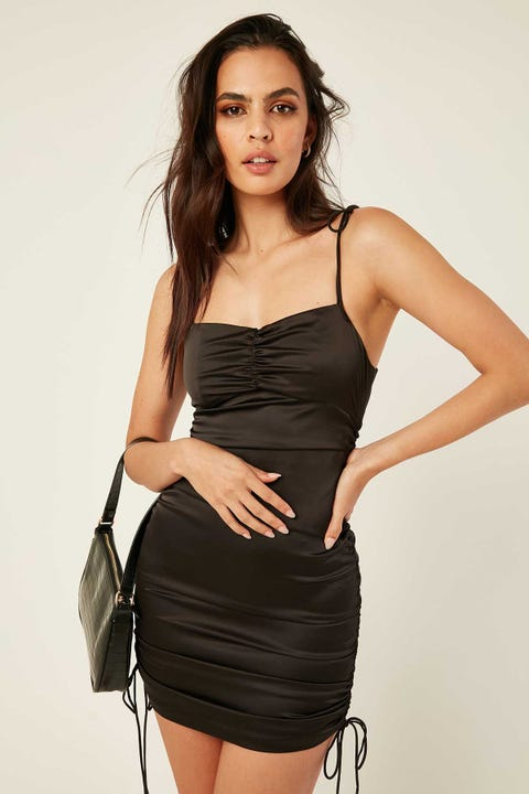 LUCK & TROUBLE Surrender Satin Mini Dress Black