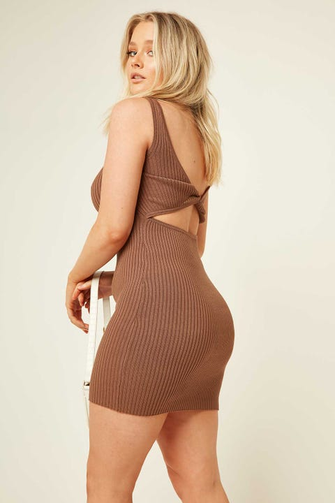 PERFECT STRANGER Nadia Two-Way Mini Dress Mocha