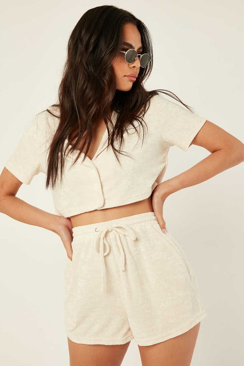 Perfect Stranger Terry Crop Resort Shirt Sand