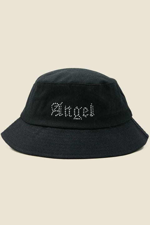 TOKEN Angel Diamante Bucket Hat Black