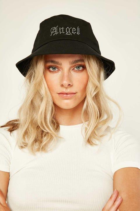 Token Angel Diamante Bucket Hat Black