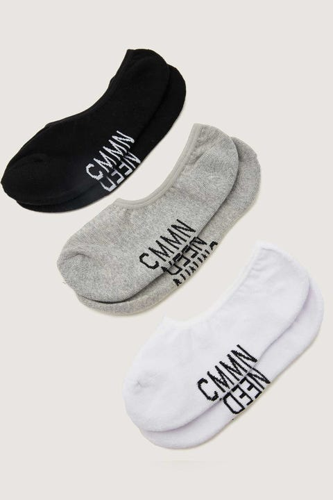 COMMON NEED Invisible Sock 3-Pack White/Grey/Black
