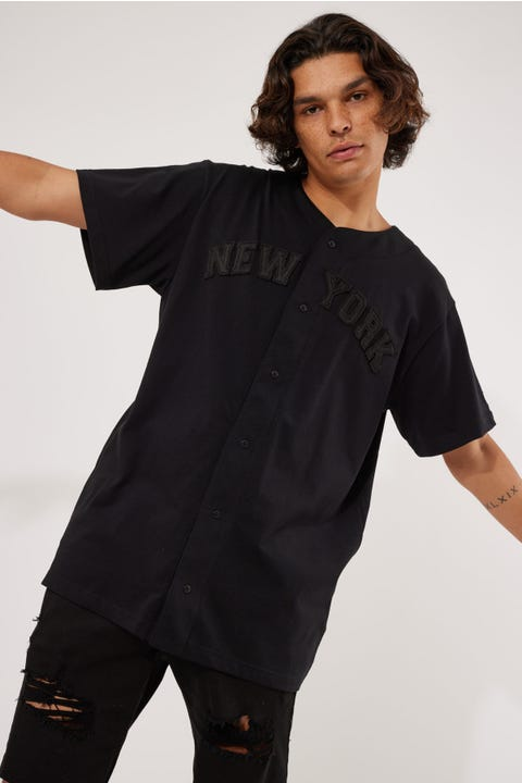 New Era Button Up Woodmark Shirt Black