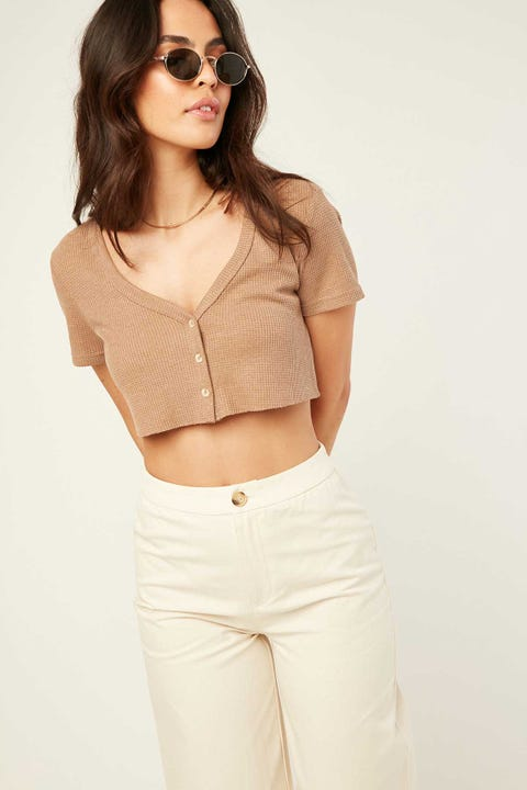 PERFECT STRANGER Waffle Button Up Crop Brown