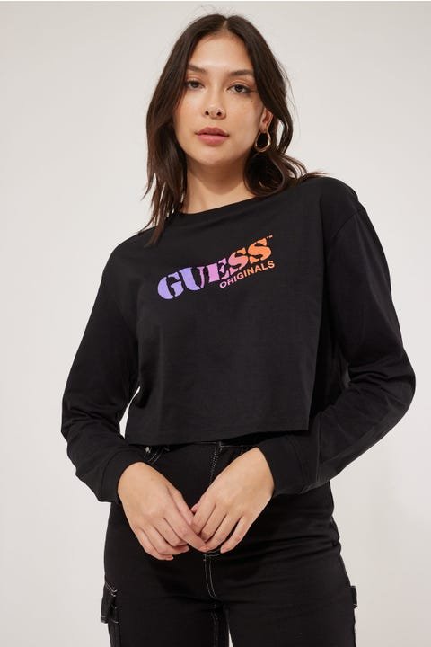 Guess Originals Go Stencil Logo LS Crop Tee Jet Black
