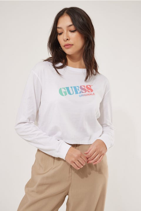 Guess Originals Go Stencil Logo LS Crop Tee Pure White