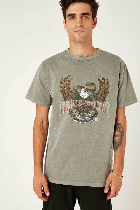 Thrills Retribution Merch Fit Tee Washed Grey
