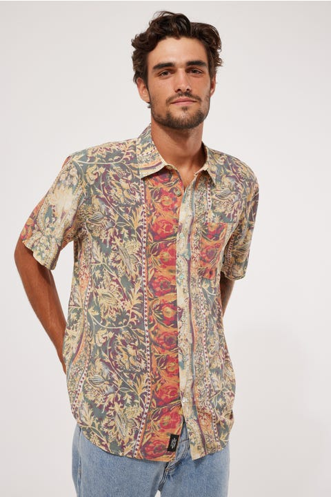 Thrills June Street Blues Short Sleeve Shirt Cream