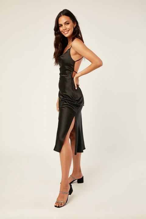 LUCK & TROUBLE Lace Up Midi Dress Black