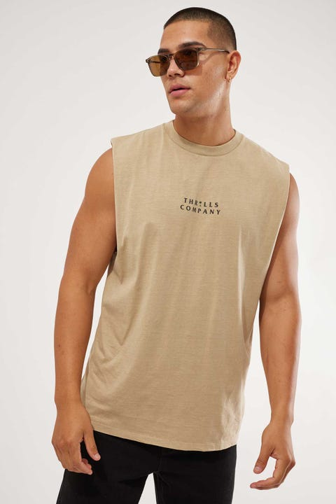 Thrills Palmed Thrills Company Merch Fit Muscle Tee Washed Tan