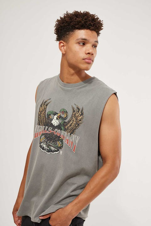 Thrills Retribution Merch Fit Muscle Tee Washed Grey