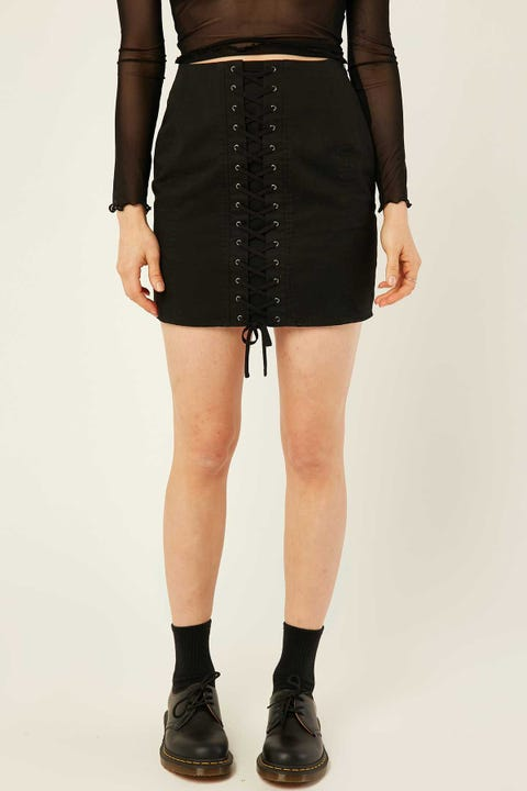 LUCK & TROUBLE Lace Up Mini Skirt Black
