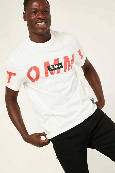 TOMMY JEANS TJM Bold Tommy Logo Tee White