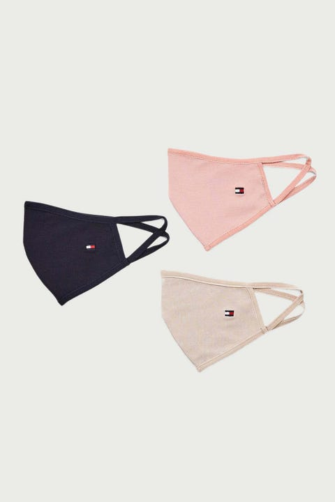 Tommy Jeans Flag Face Cover 3 Pack Desert Sky/Soothing Pink/Beige