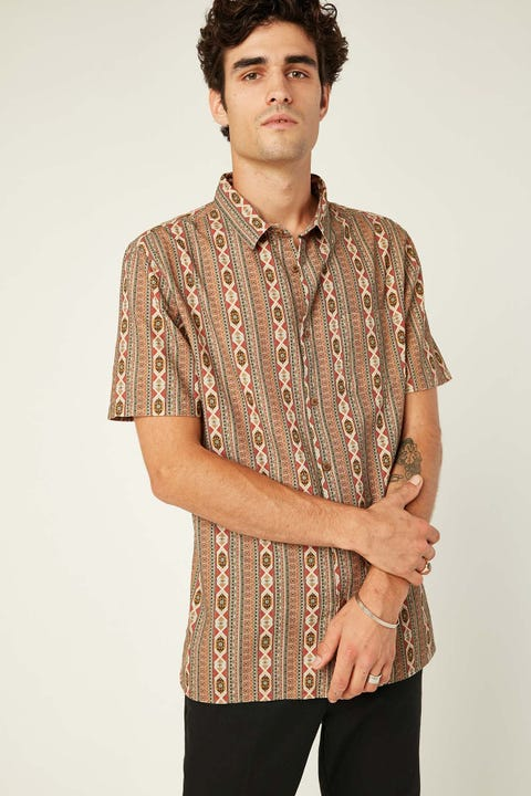 COMMON NEED Carve Shirt Rust Aztec Print