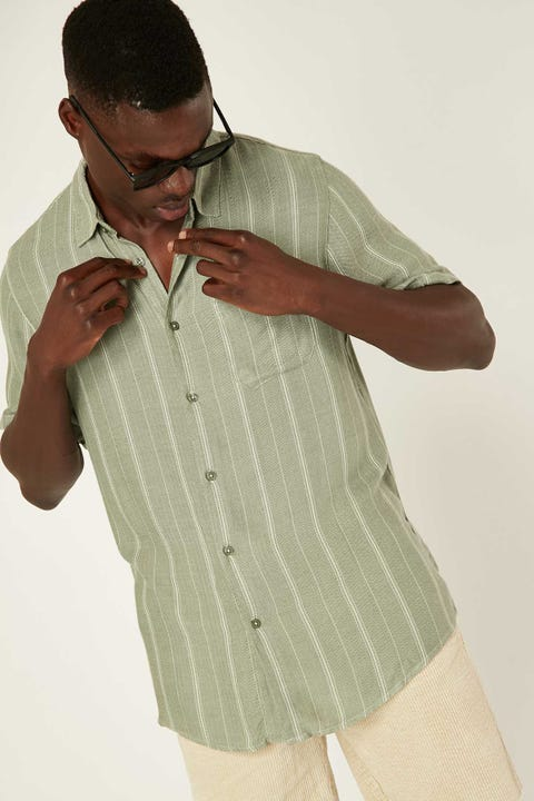 COMMON NEED Herringbone Party Shirt Deep Sage
