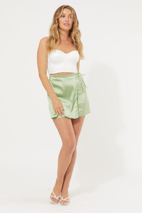 Luck & Trouble Wrap Front Mini Skirt Green