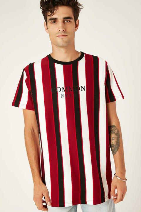 Common Need Portland Vertical Stripe Tee Black/Red/White